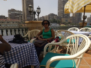 Cairo, Egypt eating lunch on the Nile